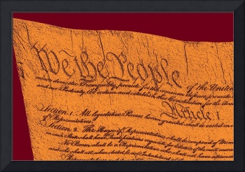 US Constitution Closeup Sculpture Violet Red Backg