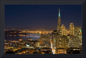 San Francisco downtown & Bay Bridge under Moonligh