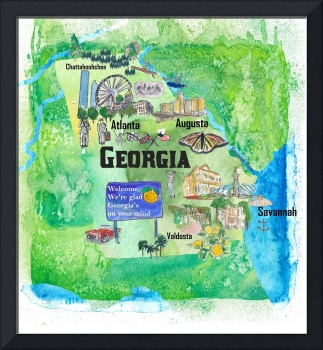 USA Georgia State Travel Poster Map with Tourist H