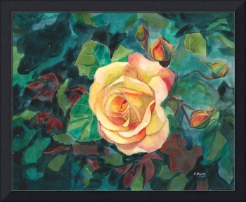 gouache rose with leaves