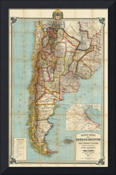 Vintage Map of Lower South America (1914)