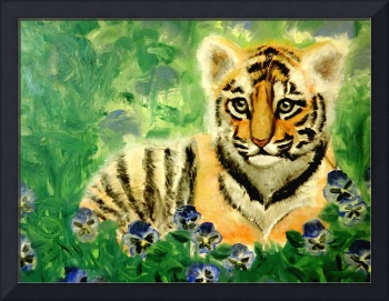 Tiger Cub in Pansy Patch