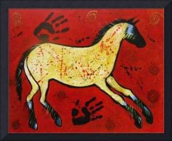 Red Modern Abstract Primitive Cave Art