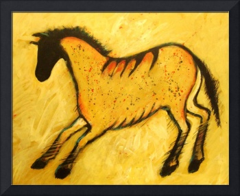 Yellow Modern Horse Abstract Cave Painting