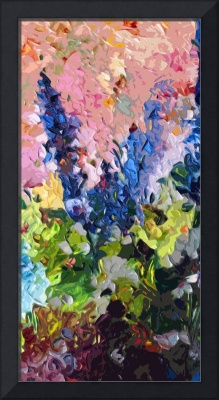 Abstract Delphiniums Diptych B Floral Decor Blue