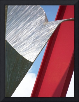 Abstract Red and Silver Sculpture