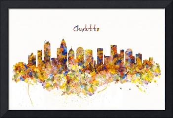 Charlotte Watercolor Skyline