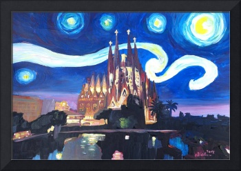 Starry Night in Barcelona - Van Gogh Inspirations