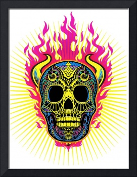 Flaming Skull White