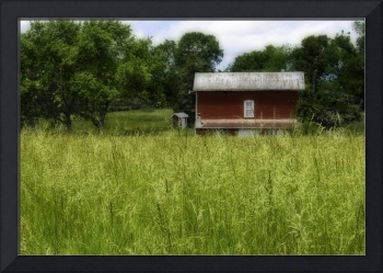 Red Barn in Field of Grass #2