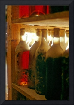 Red Wine Bottles on Cellar With Centenial Dust