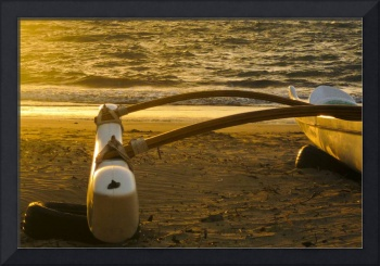 outrigger canoe at sunset 1