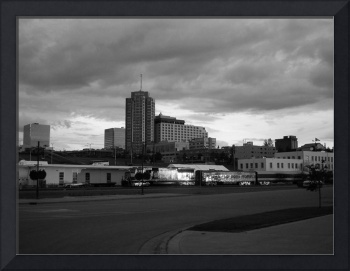 Downtown Anchorage Summertime Black and White