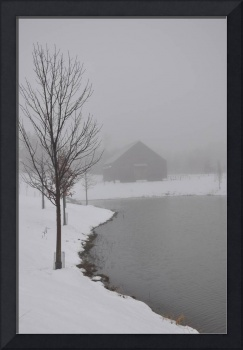 Old Dutch Barn winter fog