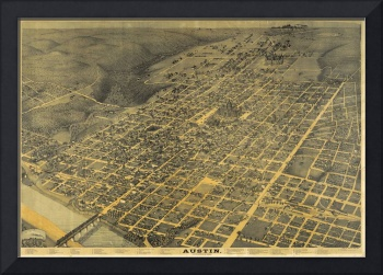 Vintage Pictorial Map of Austin Texas (1887)