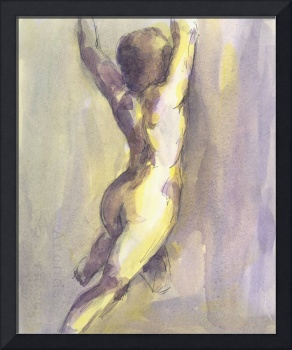 Yellow and Violet Female Nude Figure Study