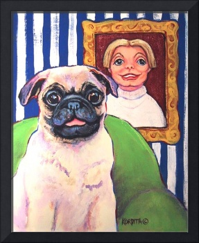 Beth Ann and Butch - Funny Pug Dog Woman Girl