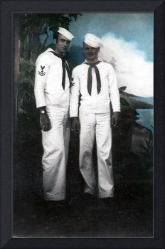 Hand-tinted Sailors on Leave, ca 1944.
