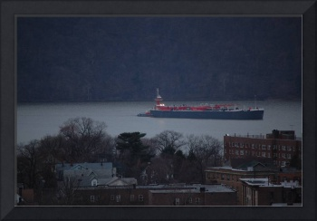 Overlooking Downtown Yonkers as Ship Sails Up Huds