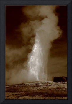 Old Faithful - Yellowstone Park in Sepia
