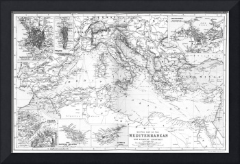 Vintage Map of The Mediterranean Sea (1891) BW