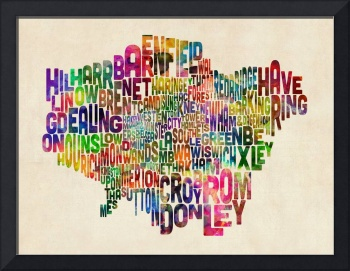 Boroughs of London Typography Text Map