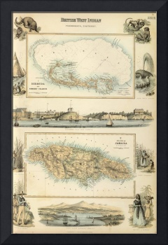 Vintage Map of Bermuda and Jamaica (1872)