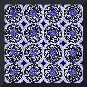 Blue Serengeti  - fabric mosaic