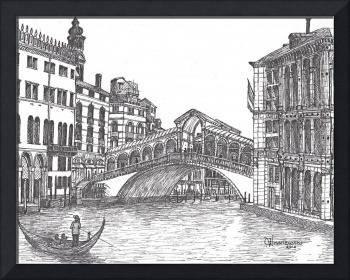 Rialto Bridge  bw in Venice Italy
