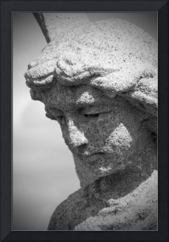 Weathered Cemetery Angel in Black and White