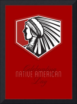 Poster Native American Day Celebration Retro Card