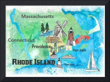 USA Rhode Island State Travel Poster Map with Tour