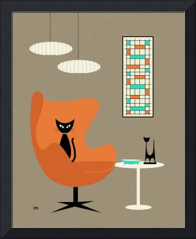 Orange Egg Chair with Mini Abstract