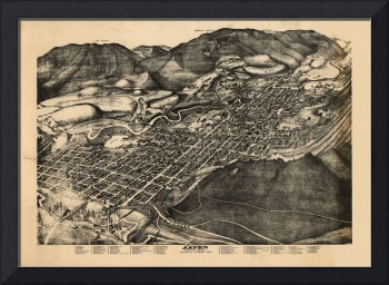 1893 Aspen, CO Bird's Eye View Panoramic Map