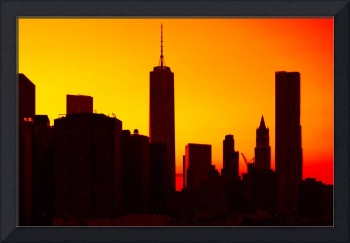 Lower Manhattan Sunset Silhouette