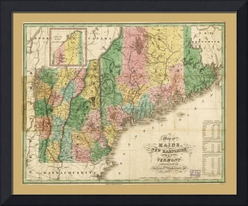 Map of Maine, New Hampshire and Vermont (1826)
