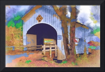 Covered Bridge In Watercolor