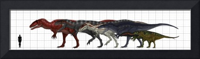 Size chart of dinosaurs to human