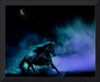 Night mare Galloping Black Horse moon lit painting