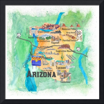 USA Arizona State Travel Poster Illustrated Art Ma