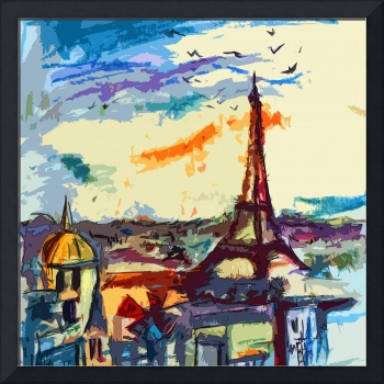 Abstract Decorative Under Paris Skies Cityscape