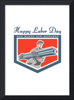 Labor Day Greeting Card Construction Worker I-Beam