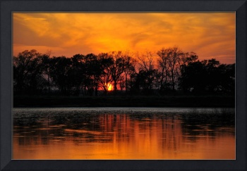 SUN SETTING ON A LOUISIANA BAYOU  LARRY KIP HAYES