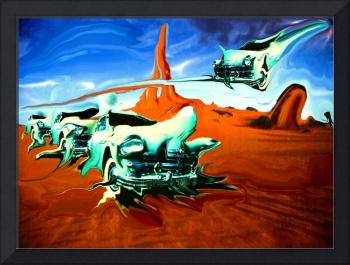 Green Cars In Red Desert - Surrealistic Artwork