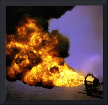 Oil Industry Flaring Gas-Oilfield-Framed Photo