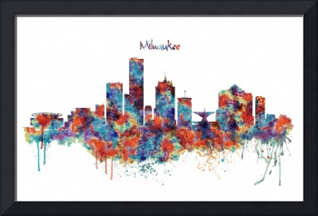 Milwaukee watercolor skyline