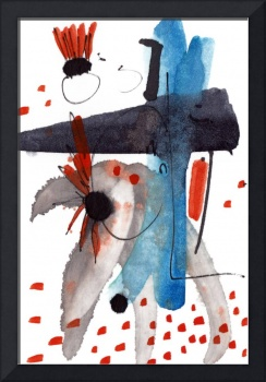 Intuitive Abstract Blue Black Orange