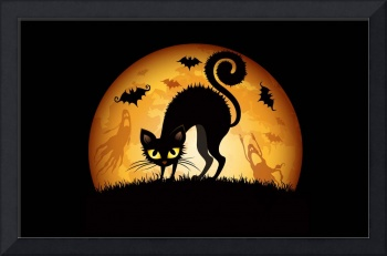 Halloween Black Cat Full Moon