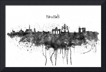 Brussels Skyline Silhouette Watercolor painting BW