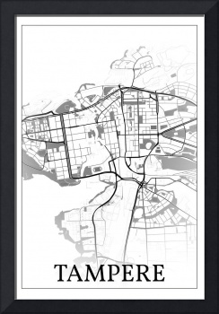 Tampere, Finland, city map print.